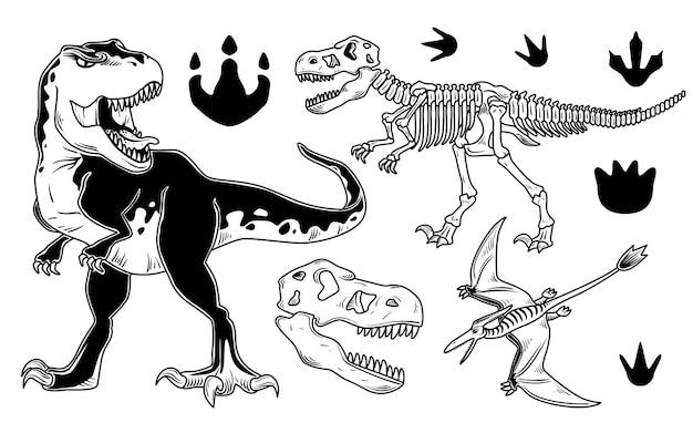 Conjunto de dinossauros Vetor grátis