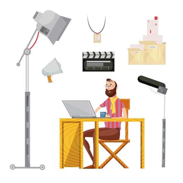 Conjunto de diretor de cinema, incluindo o homem com caneca perto de microfone de roteiro de filme de laptop iluminação ilustração vetorial isolado Vetor grátis