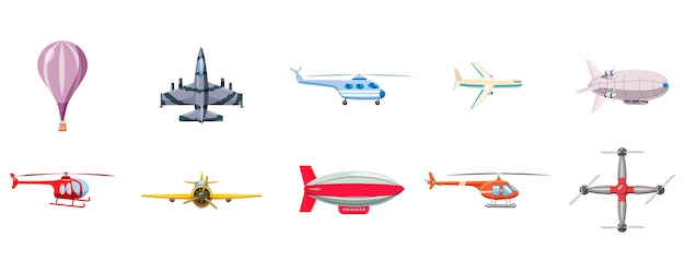 Conjunto de dirigível. conjunto de desenhos animados de dirigível Vetor Premium