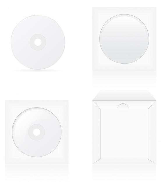 Conjunto de disco de cd branco em branco e ilustração vetorial de capa Vetor Premium