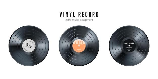 Conjunto de discos de vinil. disco de áudio retro. disco de gramofone vintage realista com capa. ilustração Vetor Premium