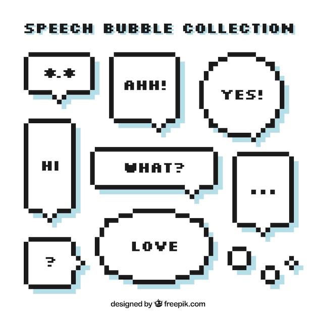 Conjunto de discurso pixelizada bolhas com mensagens Vetor Premium