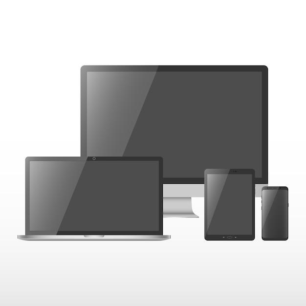 Conjunto de dispositivo com tela preta. Vetor Premium