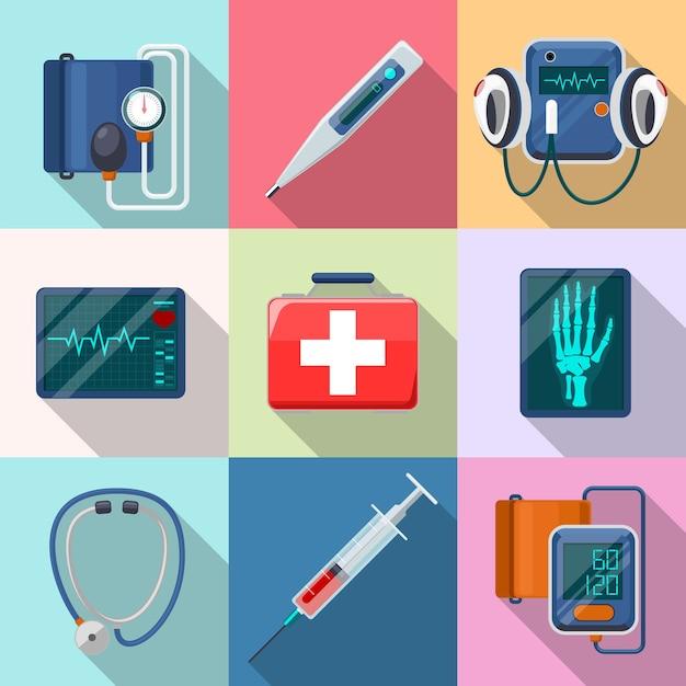 Conjunto de dispositivos médicos. tonômetro e fonendoscópio, desfibrilador e raio-x. cuidados e ferramentas, cuidados de saúde e ajuda, coleta de equipamentos, eletrocardiograma e instrumento Vetor grátis