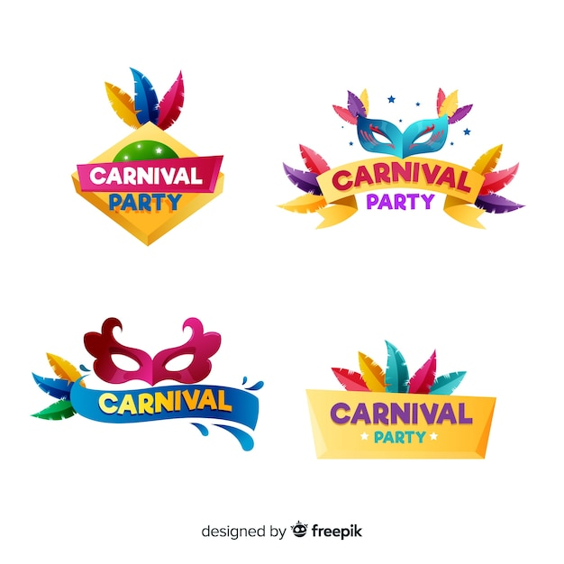 Conjunto de distintivo de carnaval colorido Vetor grátis