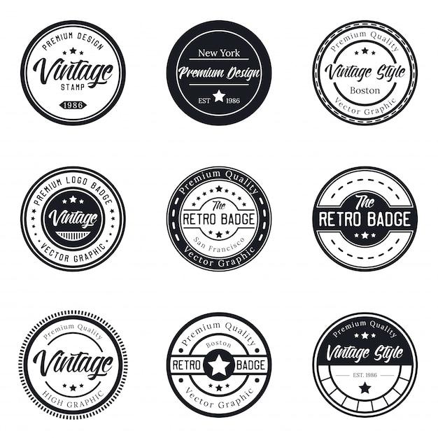 Conjunto de distintivo de logotipo vintage Vetor Premium