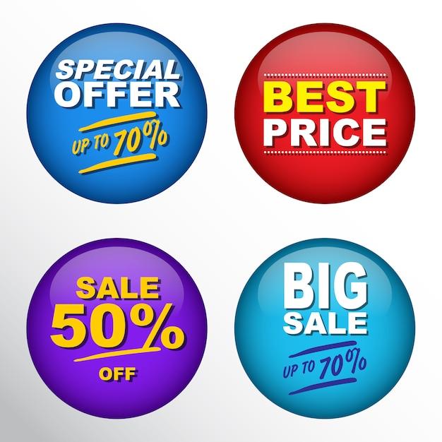 Conjunto de distintivo de pin de venda Vetor Premium