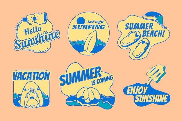 Conjunto de distintivo de verão retrô Vetor grátis