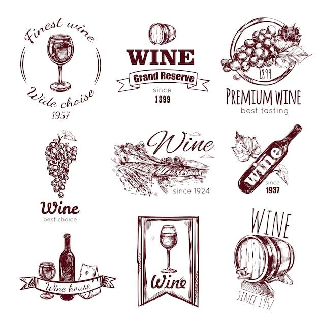 Conjunto de distintivo de vinho vintage Vetor grátis