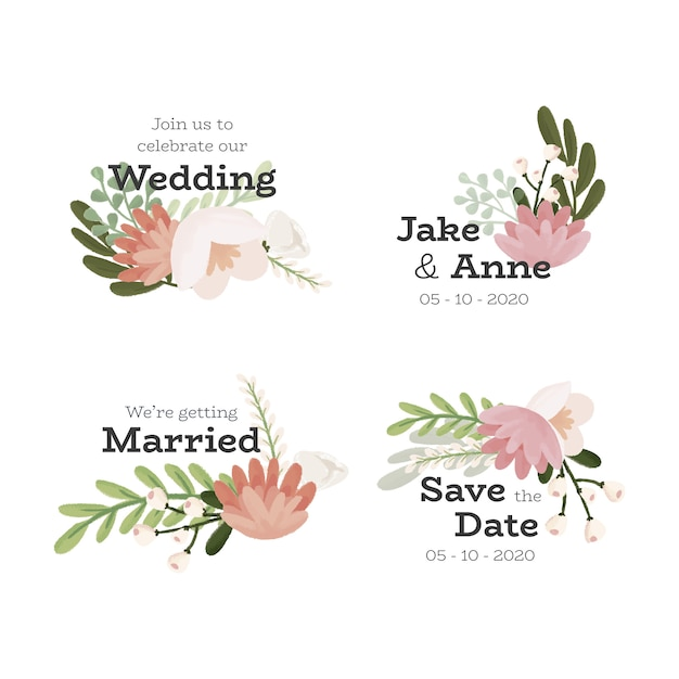 Conjunto de distintivo floral de casamento Vetor grátis