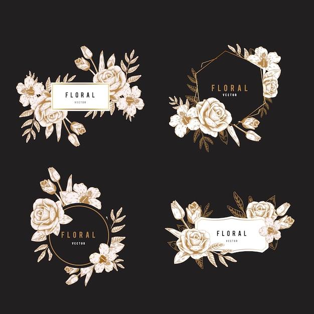 Conjunto de distintivo floral Vetor grátis