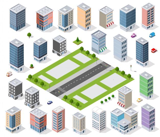 Conjunto de distrito urbano Vetor Premium