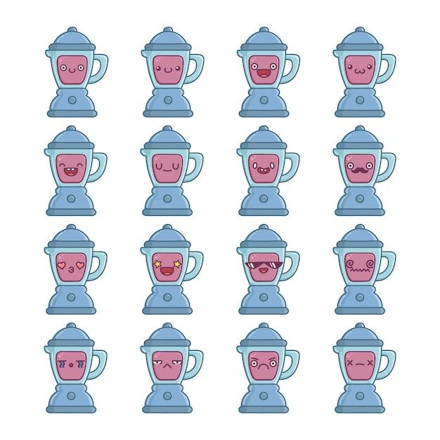 Conjunto de divertidos desenhos de ícones de liquidificador de cozinha fofos isolados Vetor Premium