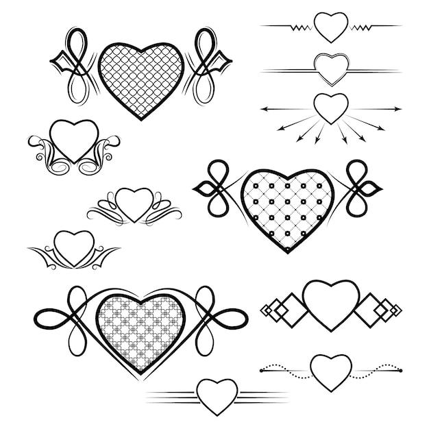 Conjunto de divisores com a imagem do coração Vetor Premium