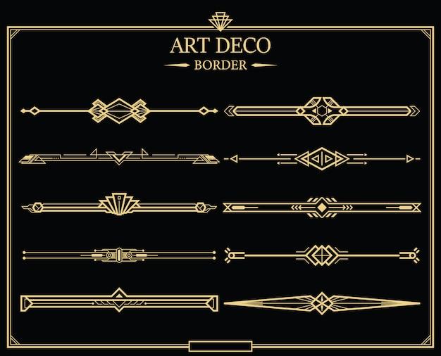 Conjunto de divisores de página caligráfico ouro art deco. Vetor Premium