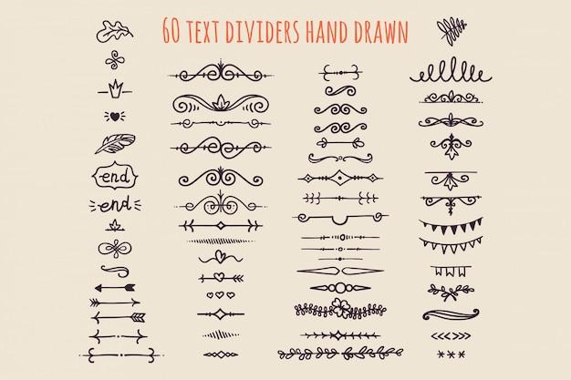 Conjunto de divisores de texto mão desenhada isolado. decoração de papel velho Vetor Premium