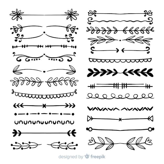 Conjunto de divisores desenhados à mão vintage Vetor grátis