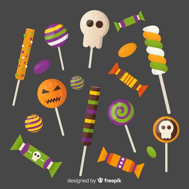 Conjunto de doces coloridos de halloween para crianças Vetor grátis