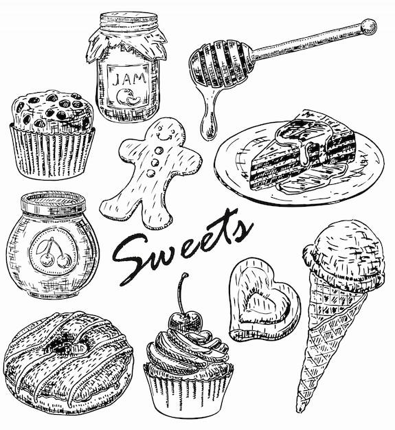 Conjunto de doces de estilo mão desenhada Vetor Premium