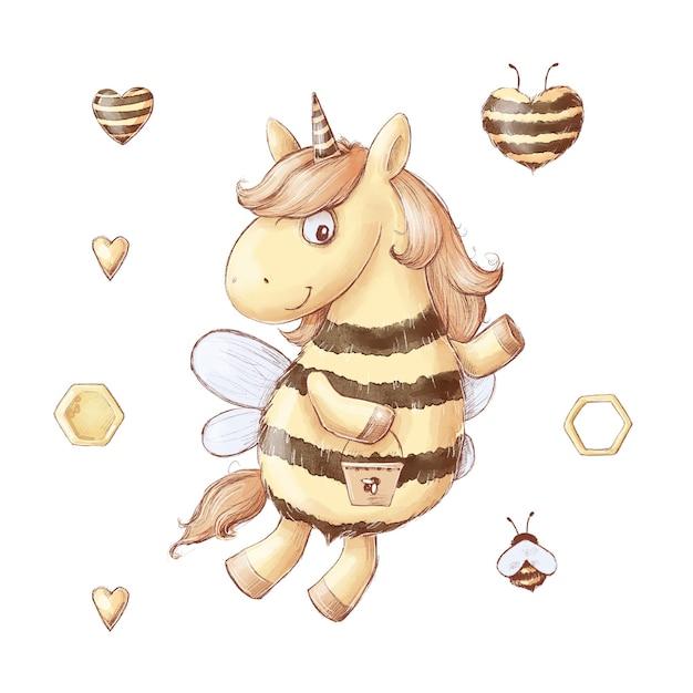 Conjunto de doces de mel de abelha unicórnio dos desenhos animados. ilustração em aquarela. Vetor Premium