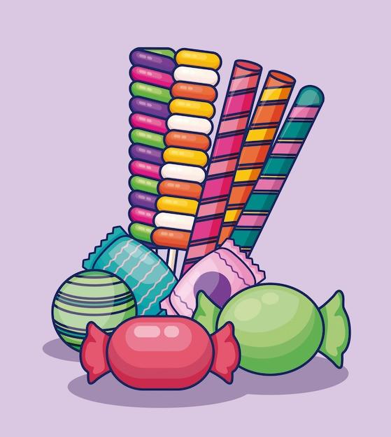 Conjunto de doces doces Vetor grátis