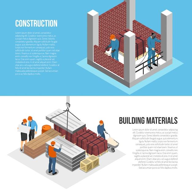 Conjunto de dois banners de arquiteto construtor isométrico horizontal com imagens de caracteres do construtor e ilustração em vetor texto editável Vetor grátis