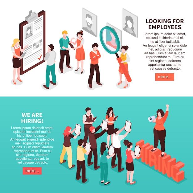 Conjunto de dois banners de recrutamento horizontais isométricos de busca de emprego com texto editável e ler mais botões Vetor grátis