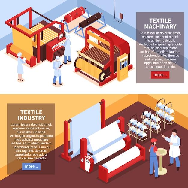 Conjunto de dois banners horizontais da indústria têxtil isométrica com máquinas de instalações de fábrica e trabalhadores de uniforme Vetor grátis