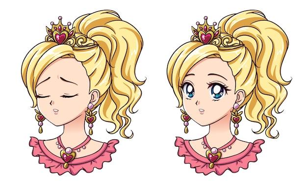 Conjunto de dois bonitos retratos de princesa de anime. duas expressões diferentes. Vetor Premium
