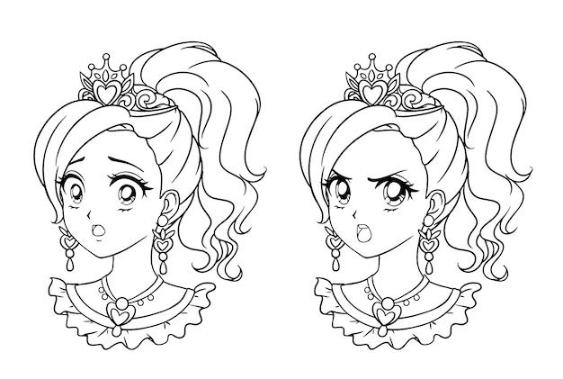 Conjunto de dois retratos de princesa manga bonito. duas expressões diferentes. anos 90 estilo de anime retrô mão desenhada ilustração em vetor contorno. isolado. Vetor Premium