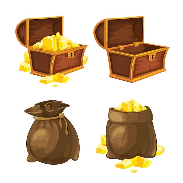 Conjunto de dois sacos e baús com ouro. ilustração vetorial Vetor Premium