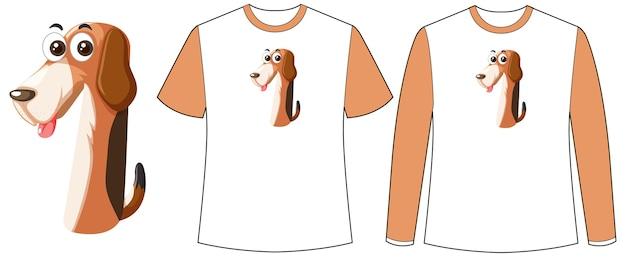 Conjunto de dois tipos de camisa com cachorro na tela de formato número um em camisetas Vetor grátis