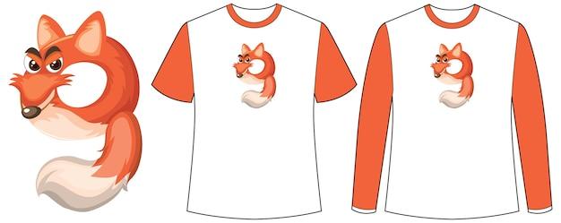 Conjunto de dois tipos de camisa com raposa na tela de formato número nove em camisetas Vetor grátis