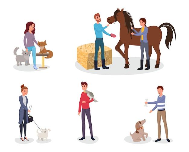 Conjunto de donos de animais Vetor Premium