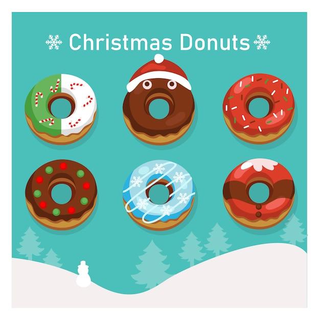 Conjunto de donuts coloridos de variedade no tema de natal. Vetor Premium