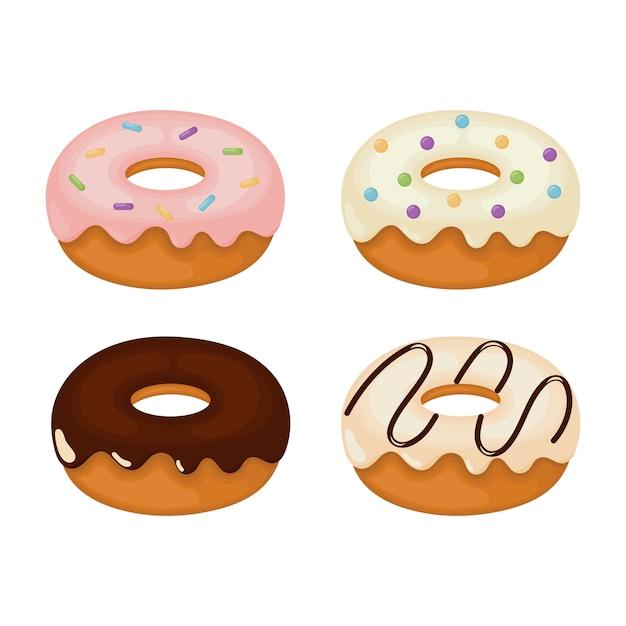 Conjunto de donuts kawaii Vetor Premium