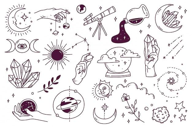 Conjunto de doodle astronomia mística Vetor Premium