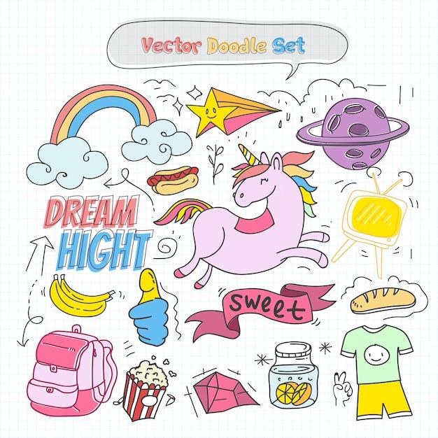 Conjunto de doodle colorido de vetor Vetor Premium
