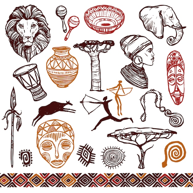 Conjunto de doodle de áfrica Vetor grátis