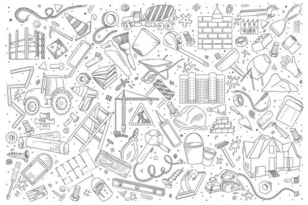 Conjunto de doodle de construção Vetor Premium