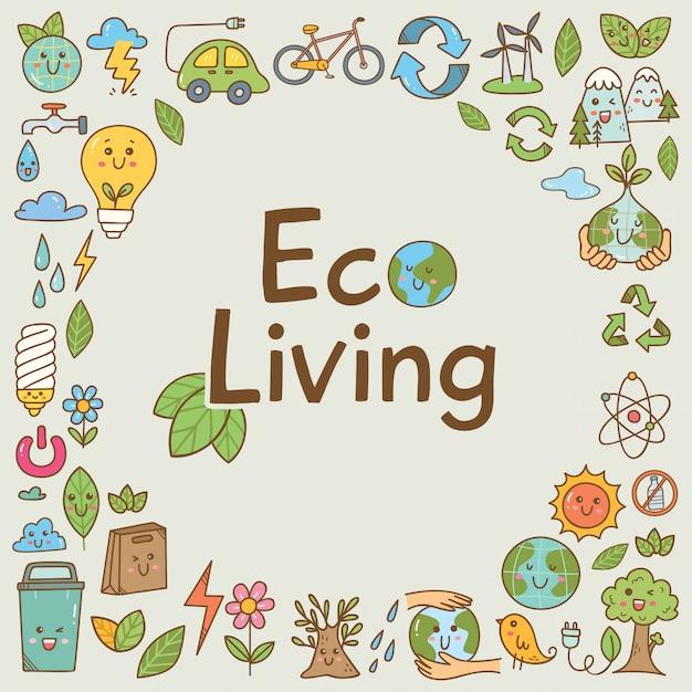 Conjunto de doodle de ecologia no estilo kawaii Vetor Premium