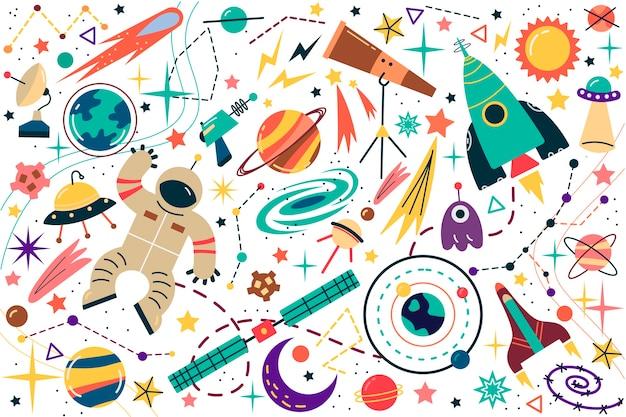 Conjunto de doodle de espaço. Vetor Premium