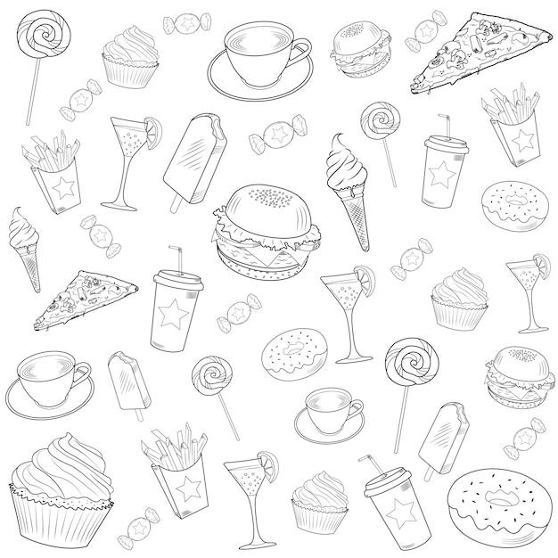 Conjunto de doodle de fast-food Vetor Premium