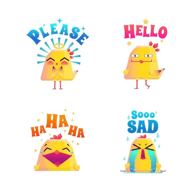 Conjunto de doodle de frango engraçado Vetor grátis