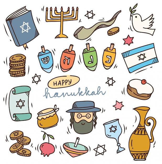 Conjunto de doodle de hanukkah Vetor Premium
