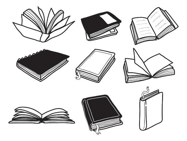 Conjunto de doodle de livro Vetor Premium
