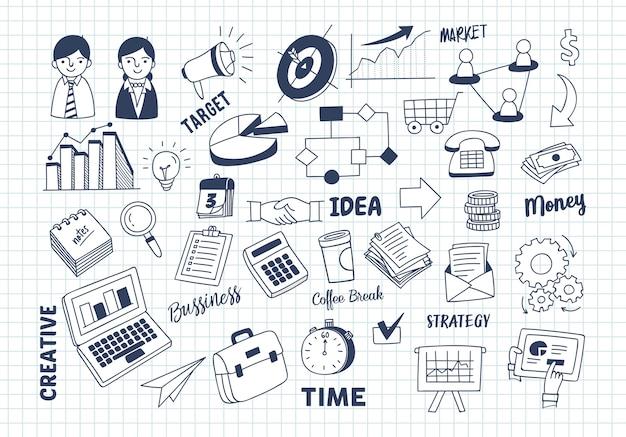 Conjunto de doodle de marketing de negócios Vetor Premium