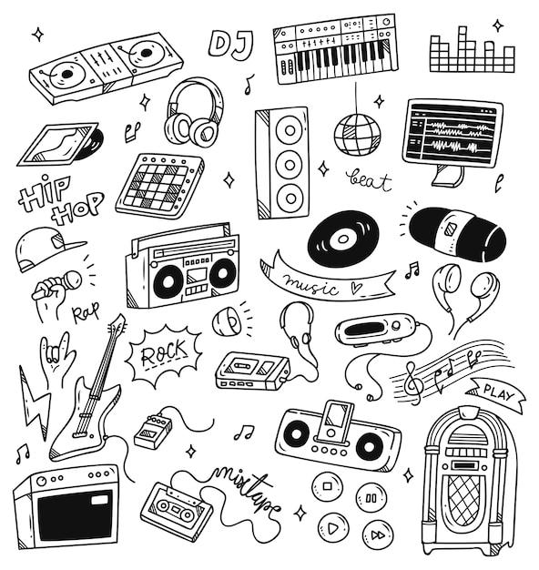 Conjunto de doodle de música Vetor Premium