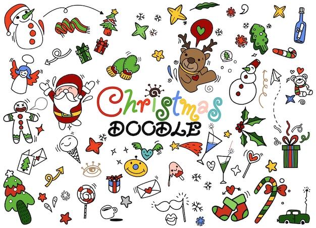 Conjunto de doodle de natal, mão desenhada ilustração de doodle Vetor Premium