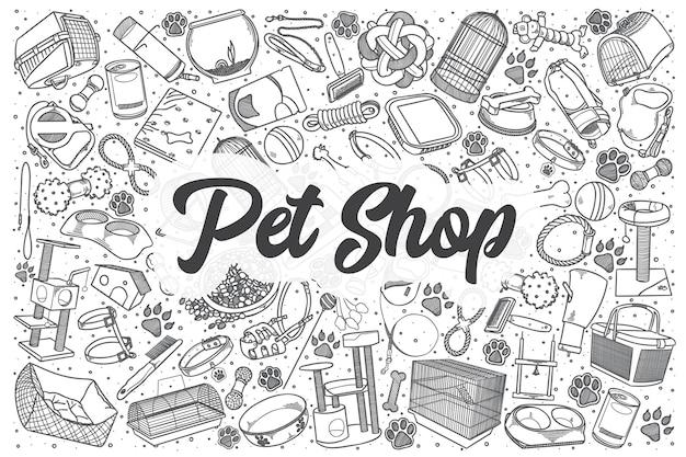Conjunto de doodle de pet shop desenhado à mão. letras - pet shop Vetor Premium